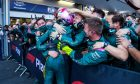 Sebastian Vettel (GER) Aston Martin F1 Team celebrates his second position with the team in parc ferme. 06.06.2021. Formula 1 World Championship, Rd 6, Azerbaijan Grand Prix, Baku