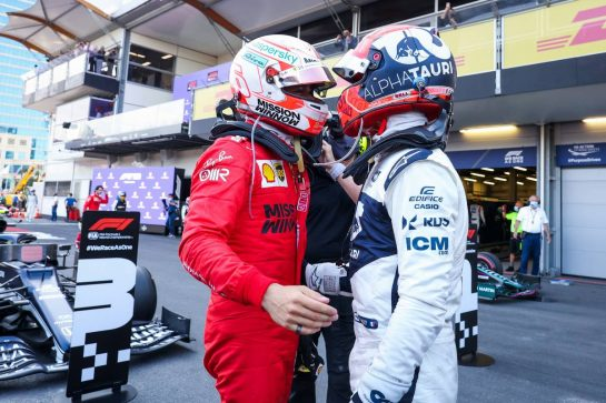 (L to R): Charles Leclerc (MON) Ferrari congratulates Pierre Gasly (FRA) AlphaTauri on his third place in parc ferme. 06.06.2021. Formula 1 World Championship, Rd 6, Azerbaijan Grand Prix, Baku Street Circuit, Azerbaijan, Race Day. - www.xpbimages.com, EMail: requests@xpbimages.com © Copyright: FIA Pool Image for Editorial Use Only