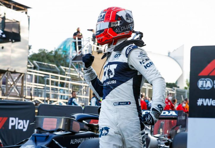 Pierre Gasly (FRA) AlphaTauri celebrates his third position in parc ferme. 06.06.2021. Formula 1 World Championship, Rd 6, Azerbaijan Grand Prix, Baku
