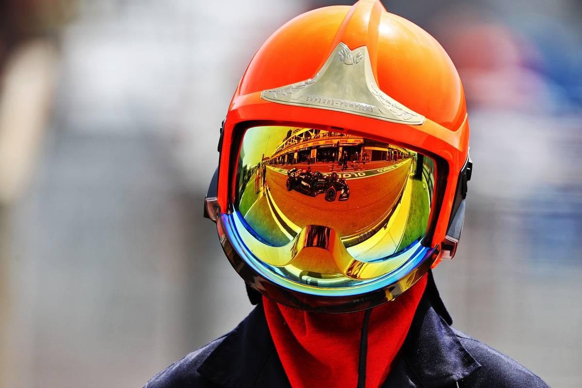 Lewis Hamilton (GBR) Mercedes AMG F1 W12 reflected in a fire marshal's helmet visor. 18.06.2021. Formula 1 World Championship, Rd 7, French Grand Prix, Paul Ricard