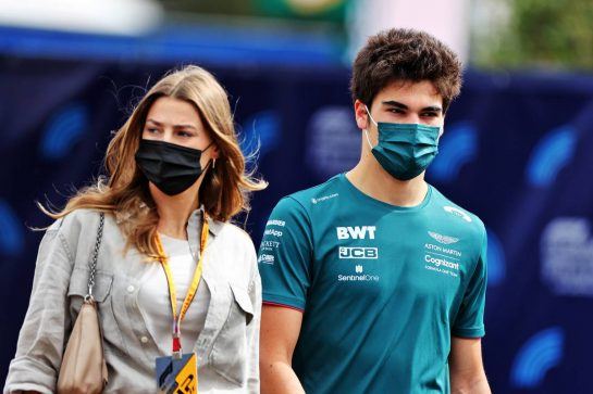 Lance Stroll (CDN) Aston Martin F1 Team with his girlfriend Sara Pagliaroli. 19.06.2021. Formula 1 World Championship, Rd 7, French Grand Prix, Paul Ricard, France, Qualifying Day. - www.xpbimages.com, EMail: requests@xpbimages.com © Copyright: Moy / XPB Images