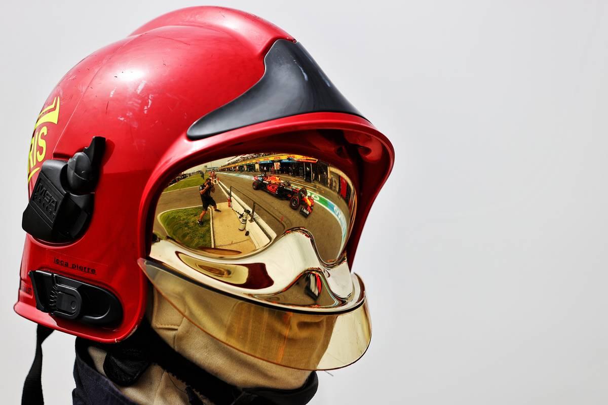 Max Verstappen (NLD) Red Bull Racing RB16B reflected in a fire marshal's helmet visor. 19.06.2021. Formula 1 World Championship, Rd 7, French Grand Prix, Paul Ricard