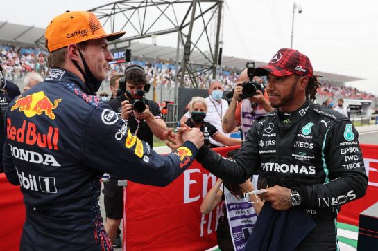 Pole for Max Verstappen (NLD) Red Bull Racing and 2nd for Lewis Hamilton (GBR) Mercedes AMG F1 W12.19.06.2021. Formula 1 World Championship, Rd 7, French Grand Prix, Paul Ricard, France, Qualifying Day.- www.xpbimages.com, EMail: requests@xpbimages.com © Copyright: Batchelor / XPB Images