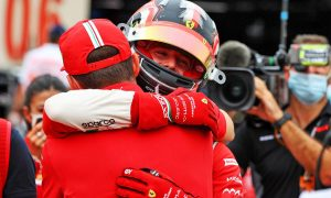 A well-deserved brotherly hug for first-time winner Leclerc