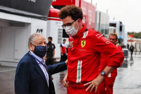 (L to R): Jean Todt (FRA) FIA President with Mattia Binotto (ITA) Ferrari Team Principal. 20.06.2021. Formula 1 World Championship, Rd 7, French Grand Prix, Paul Ricard, France, Race Day. - www.xpbimages.com, EMail: requests@xpbimages.com © Copyright: Moy / XPB Images