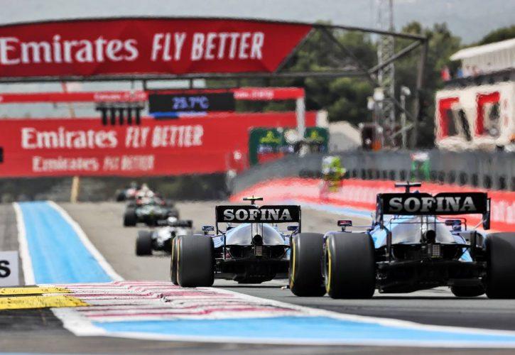 Nicholas Latifi (CDN) Williams Racing FW43B leads team mate George Russell (GBR) Williams Racing FW43B. 20.06.2021. Formula 1 World Championship, Rd 7, French Grand Prix, Paul Ricard