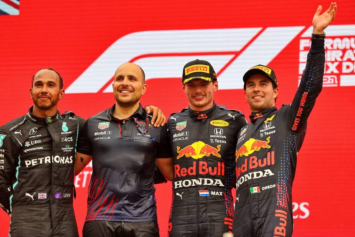 The podium (L to R): Lewis Hamilton (GBR) Mercedes AMG F1, second; Gianpiero Lambiase (ITA) Red Bull Racing Engineer; Max Verstappen (NLD) Red Bull Racing, race winner; Sergio Perez (MEX) Red Bull Racing, third. 20.06.2021. Formula 1 World Championship, Rd 7, French Grand Prix, Paul Ricard