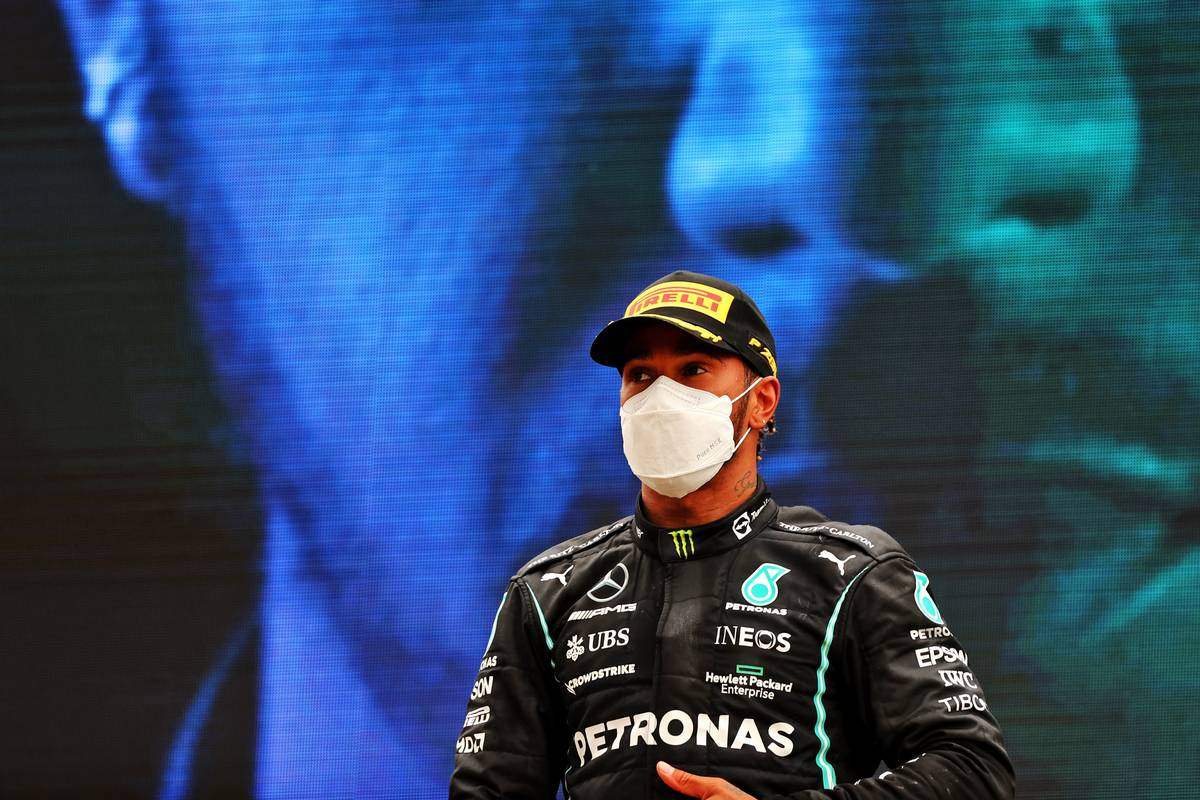 Second placed Lewis Hamilton (GBR) Mercedes AMG F1 on the podium. 20.06.2021. Formula 1 World Championship, Rd 7, French Grand Prix, Paul Ricard