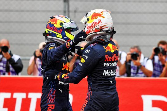 Race winner Max Verstappen (NLD) Red Bull Racing (Right)celebrates in parc ferme with third placed team mate Sergio Perez (MEX) Red Bull Racing. 20.06.2021. Formula 1 World Championship, Rd 7, French Grand Prix, Paul Ricard, France, Race Day. - www.xpbimages.com, EMail: requests@xpbimages.com © Copyright: Moy / XPB Images