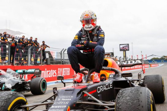 Race winner Max Verstappen (NLD) Red Bull Racing RB16B celebrates in parc ferme. 20.06.2021. Formula 1 World Championship, Rd 7, French Grand Prix, Paul Ricard, France, Race Day. - www.xpbimages.com, EMail: requests@xpbimages.com © Copyright: FIA Pool Image for Editorial Use Only