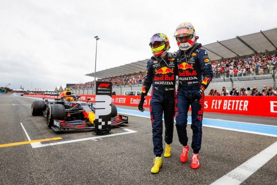 Race winner Max Verstappen (NLD) Red Bull Racing (Right) celebrates with third placed team mate Sergio Perez (MEX) Red Bull Racing in parc ferme. 20.06.2021. Formula 1 World Championship, Rd 7, French Grand Prix, Paul Ricard, France, Race Day. - www.xpbimages.com, EMail: requests@xpbimages.com © Copyright: FIA Pool Image for Editorial Use Only