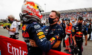 Race winner Max Verstappen (NLD) Red Bull Racing celebrates with Christian Horner (GBR) Red Bull Racing Team Principal in parc ferme. 20.06.2021. Formula 1 World Championship, Rd 7, French Grand Prix, Paul Ricard