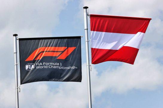 Circuit atmosphere - F1 and Austria flags. 24.06.2021. Formula 1 World Championship, Rd 8, Steiermark Grand Prix, Spielberg, Austria, Preparation Day. - www.xpbimages.com, EMail: requests@xpbimages.com © Copyright: Batchelor / XPB Images