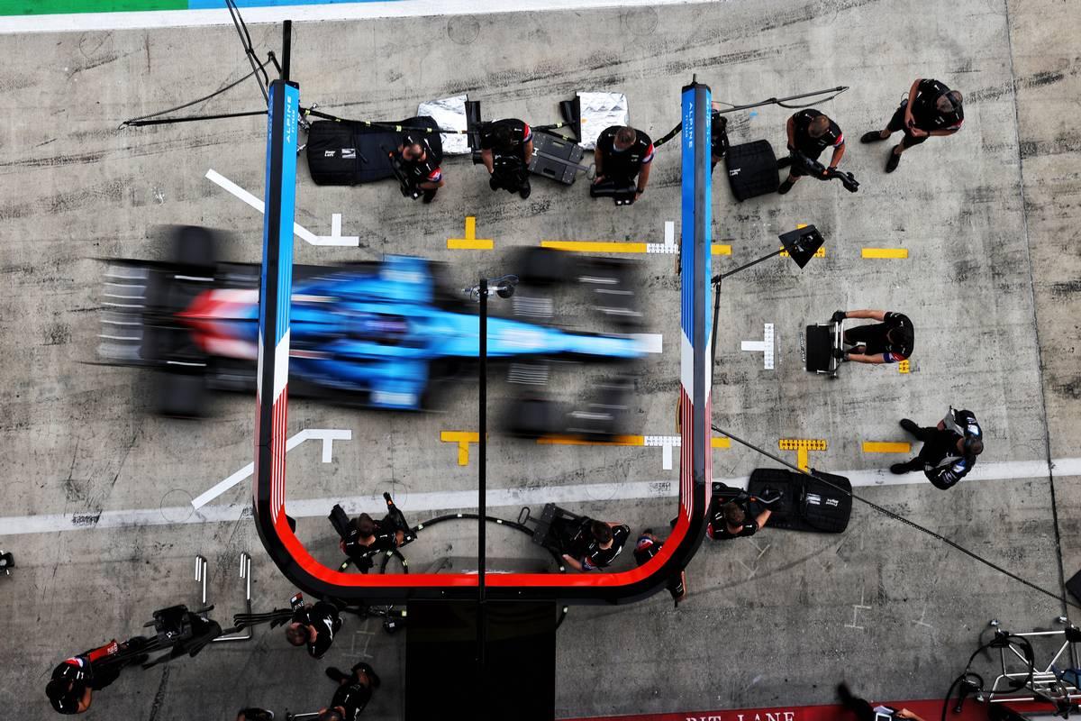 Fernando Alonso (ESP) Alpine F1 Team A521 in the pits. 25.06.2021. Formula 1 World Championship, Rd 8, Steiermark Grand Prix, Spielberg