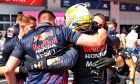 Max Verstappen (NLD) Red Bull Racing celebrates his pole position with the team in qualifying parc ferme. 26.06.2021. Formula 1 World Championship, Rd 8, Steiermark Grand Prix, Spielberg