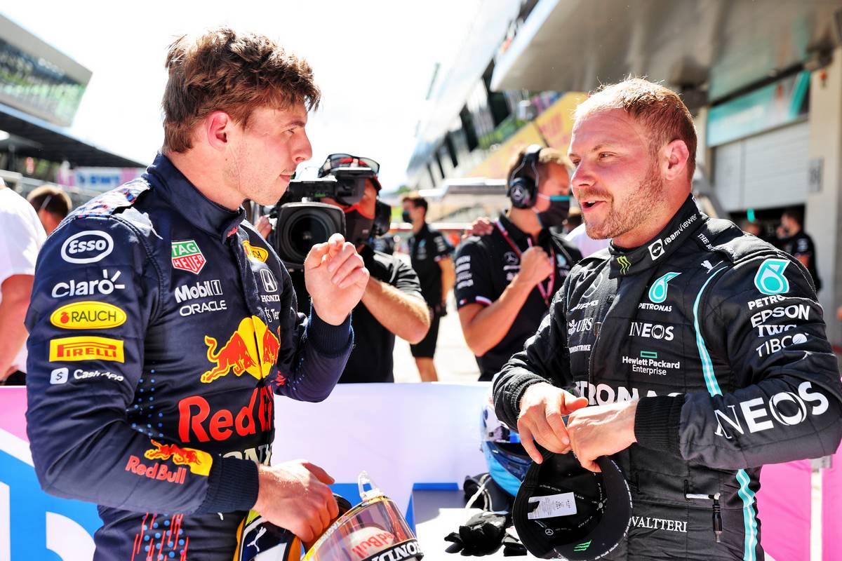Pole sitter Max Verstappen (NLD) Red Bull Racing in qualifying parc ferme with Valtteri Bottas (FIN) Mercedes AMG F1. 26.06.2021. Formula 1 World Championship, Rd 8, Steiermark Grand Prix, Spielberg