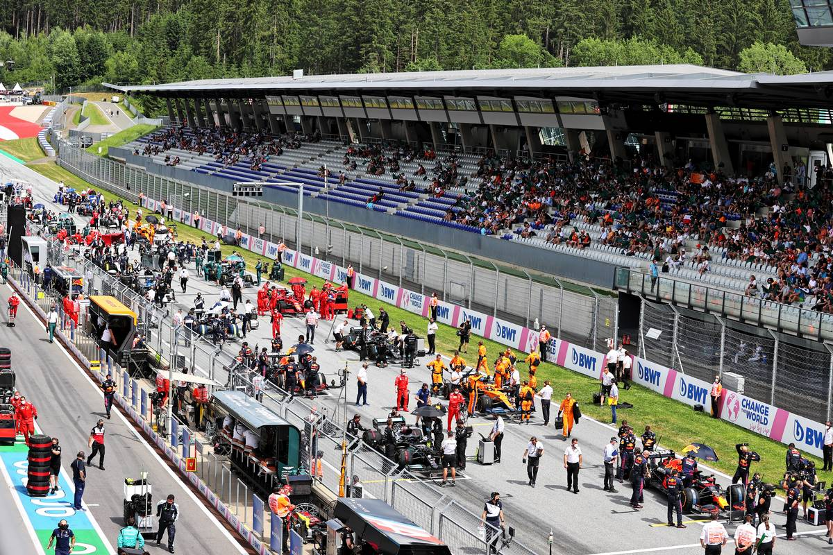 The grid before the start of the race. 27.06.2021. Formula 1 World Championship, Rd 8, Steiermark Grand Prix, Spielberg