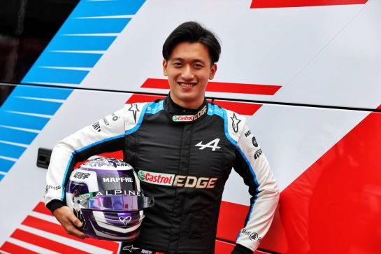 Guanyu Zhou (CHN) Alpine F1 Team Test Driver - with his helmet. 01.07.2021. Formula 1 World Championship, Rd 9, Austrian Grand Prix, Spielberg, Austria, Preparation Day. - www.xpbimages.com, EMail: requests@xpbimages.com © Copyright: Moy / XPB Images