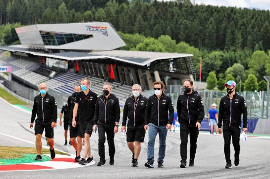 Fernando Alonso (ESP) Alpine F1 Team and Guanyu Zhou (CHN) Alpine F1 Team Test Driver walk the circuit with the team. 01.07.2021. Formula 1 World Championship, Rd 9, Austrian Grand Prix, Spielberg, Austria, Preparation Day. - www.xpbimages.com, EMail: requests@xpbimages.com © Copyright: Moy / XPB Images