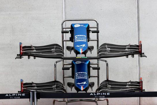 Alpine F1 Team A521 front wings. 01.07.2021. Formula 1 World Championship, Rd 9, Austrian Grand Prix, Spielberg, Austria, Preparation Day. - www.xpbimages.com, EMail: requests@xpbimages.com © Copyright: Batchelor / XPB Images