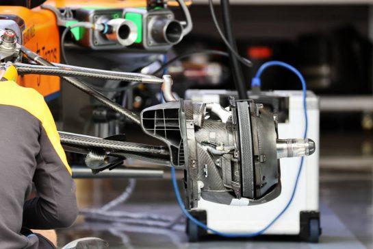 McLaren MCL35M brake detail. 01.07.2021. Formula 1 World Championship, Rd 9, Austrian Grand Prix, Spielberg, Austria, Preparation Day. - www.xpbimages.com, EMail: requests@xpbimages.com © Copyright: Batchelor / XPB Images