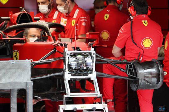 Ferrari SF-21 front suspension detail. 01.07.2021. Formula 1 World Championship, Rd 9, Austrian Grand Prix, Spielberg, Austria, Preparation Day. - www.xpbimages.com, EMail: requests@xpbimages.com © Copyright: Batchelor / XPB Images