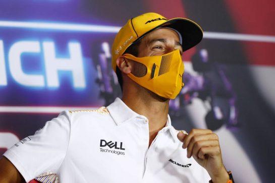 Daniel Ricciardo (AUS) McLaren in the FIA Press Conference. 01.07.2021. Formula 1 World Championship, Rd 9, Austrian Grand Prix, Spielberg, Austria, Preparation Day. - www.xpbimages.com, EMail: requests@xpbimages.com © Copyright: FIA Pool Image for Editorial Use Only