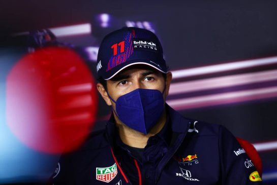 Sergio Perez (MEX) Red Bull Racing in the FIA Press Conference. 01.07.2021. Formula 1 World Championship, Rd 9, Austrian Grand Prix, Spielberg, Austria, Preparation Day. - www.xpbimages.com, EMail: requests@xpbimages.com © Copyright: FIA Pool Image for Editorial Use Only