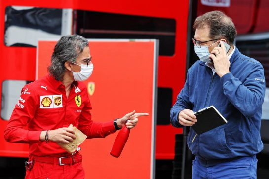 (L to R): Laurent Mekies (FRA) Ferrari Sporting Director with Nicholas Tombazis (GRE) FIA Head of Single-Seater Technical Matters. 02.07.2021. Formula 1 World Championship, Rd 9, Austrian Grand Prix, Spielberg, Austria, Practice Day. - www.xpbimages.com, EMail: requests@xpbimages.com © Copyright: Moy / XPB Images