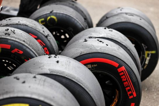 Pirelli tyres used by the Alpine F1 Team. 02.07.2021. Formula 1 World Championship, Rd 9, Austrian Grand Prix, Spielberg, Austria, Practice Day. - www.xpbimages.com, EMail: requests@xpbimages.com © Copyright: Moy / XPB Images