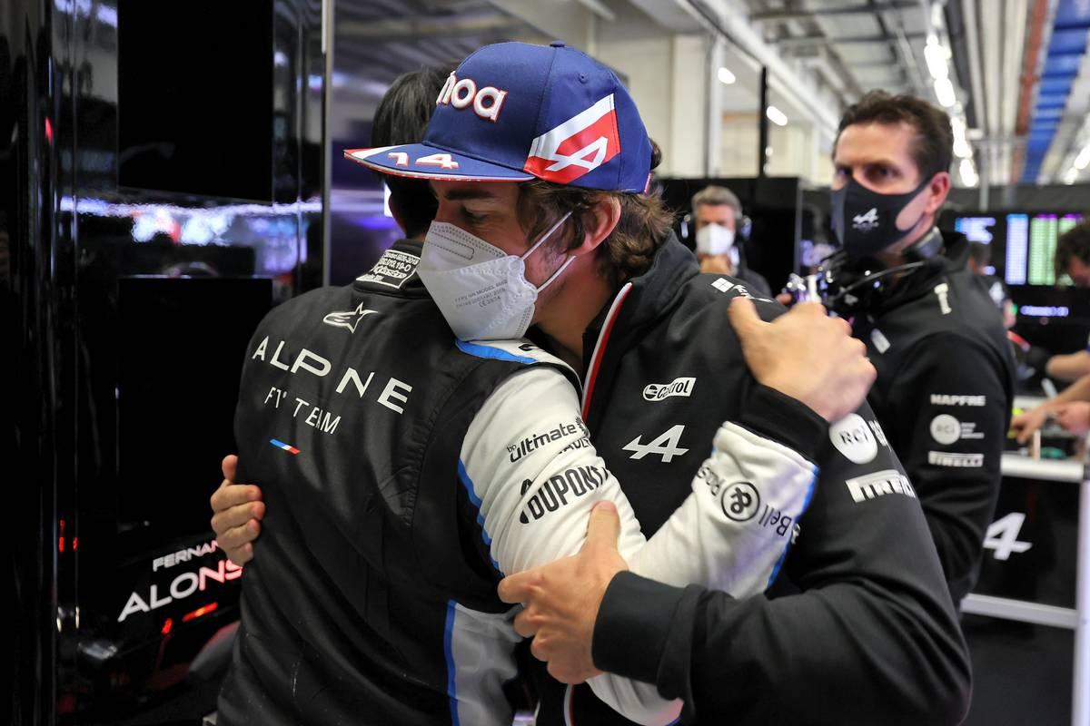 Guanyu Zhou (CHN) Alpine F1 Team Test Driver with Fernando Alonso (ESP) Alpine F1 Team. 02.07.2021. Formula 1 World Championship, Rd 9, Austrian Grand Prix, Spielberg