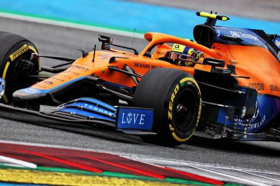Lando Norris (GBR) McLaren MCL35M. 02.07.2021. Formula 1 World Championship, Rd 9, Austrian Grand Prix, Spielberg, Austria, Practice Day. - www.xpbimages.com, EMail: requests@xpbimages.com © Copyright: Batchelor / XPB Images