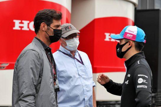 (L to R): Mark Webber (AUS) Channel 4 Presenter; Joe Saward (GBR) Journalist; and Guanyu Zhou (CHN) Alpine F1 Team Test Driver. 02.07.2021. Formula 1 World Championship, Rd 9, Austrian Grand Prix, Spielberg, Austria, Practice Day. - www.xpbimages.com, EMail: requests@xpbimages.com © Copyright: Moy / XPB Images