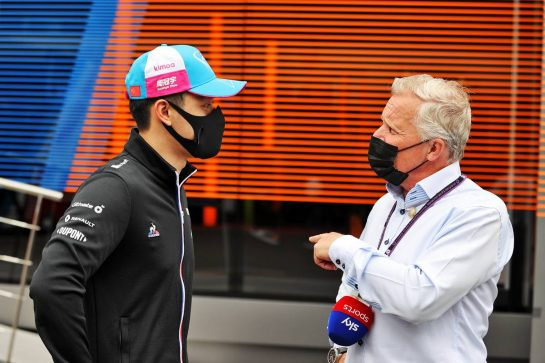 (L to R): Guanyu Zhou (CHN) Alpine F1 Team Test Driver with Johnny Herbert (GBR) Sky Sports F1 Presenter. 02.07.2021. Formula 1 World Championship, Rd 9, Austrian Grand Prix, Spielberg, Austria, Practice Day. - www.xpbimages.com, EMail: requests@xpbimages.com © Copyright: Moy / XPB Images