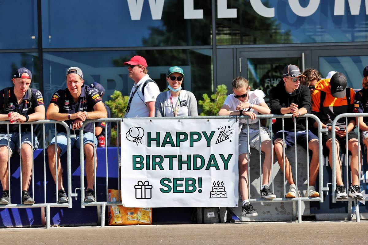 Banner from fans wishing Sebastian Vettel (GER) Aston Martin F1 Team a Happy Birthday. 03.07.2021. Formula 1 World Championship, Rd 9, Austrian Grand Prix, Spielberg