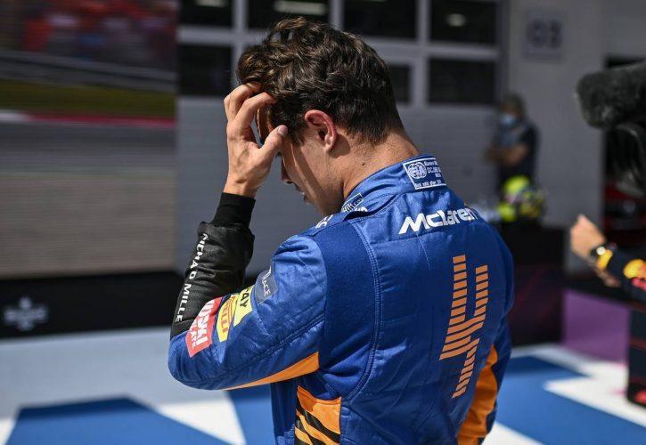 Lando Norris (GBR) McLaren celebrates his second position in qualifying parc ferme. 03.07.2021. Formula 1 World Championship, Rd 9, Austrian Grand Prix, Spielberg