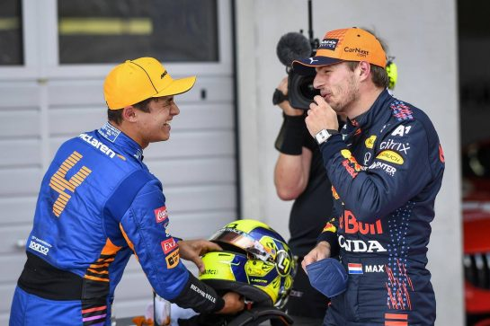 (L to R): Second placed Lando Norris (GBR) McLaren in qualifying parc ferme with pole sitter Max Verstappen (NLD) Red Bull Racing. 03.07.2021. Formula 1 World Championship, Rd 9, Austrian Grand Prix, Spielberg, Austria, Qualifying Day. - www.xpbimages.com, EMail: requests@xpbimages.com © Copyright: FIA Pool Image for Editorial Use Only