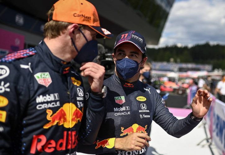Pole sitter Max Verstappen (NLD) Red Bull Racing with third placed team mate Sergio Perez (MEX) Red Bull Racing in qualifying parc ferme. 03.07.2021. Formula 1 World Championship, Rd 9, Austrian Grand Prix, Spielberg