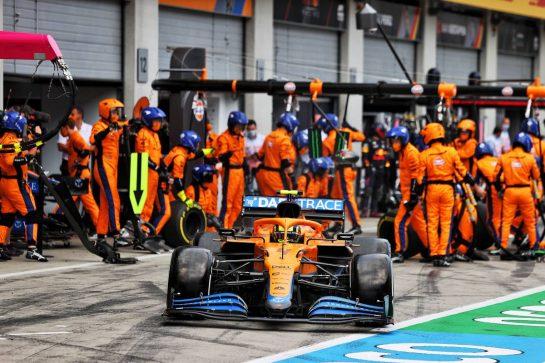 Lando Norris (GBR) McLaren MCL35M leaves the pits. 04.07.2021. Formula 1 World Championship, Rd 9, Austrian Grand Prix, Spielberg, Austria, Race Day. - www.xpbimages.com, EMail: requests@xpbimages.com © Copyright: Moy / XPB Images
