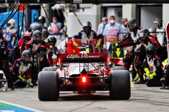 Kimi Raikkonen (FIN) Alfa Romeo Racing C41 makes a pit stop. 04.07.2021. Formula 1 World Championship, Rd 9, Austrian Grand Prix, Spielberg, Austria, Race Day. - www.xpbimages.com, EMail: requests@xpbimages.com © Copyright: Moy / XPB Images