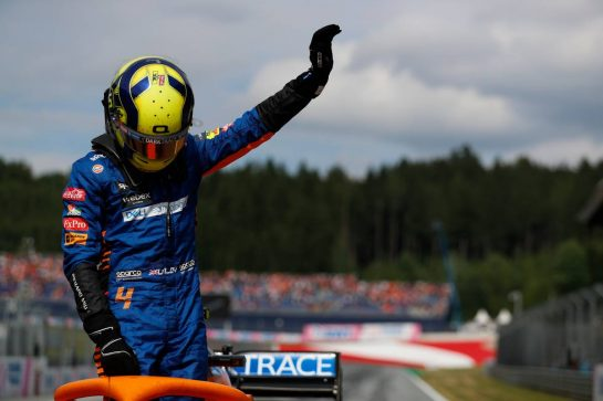 Lando Norris (GBR) McLaren MCL35M celebrates his third position in parc ferme. 04.07.2021. Formula 1 World Championship, Rd 9, Austrian Grand Prix, Spielberg, Austria, Race Day. - www.xpbimages.com, EMail: requests@xpbimages.com © Copyright: FIA Pool Image for Editorial Use Only