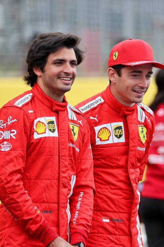 (L to R): Carlos Sainz Jr (ESP) Ferrari and team mate Charles Leclerc (MON) Ferrari - 2022 Car Launch. 15.07.2021. Formula 1 World Championship, Rd 10, British Grand Prix, Silverstone, England, Preparation Day. - www.xpbimages.com, EMail: requests@xpbimages.com © Copyright: Batchelor / XPB Images