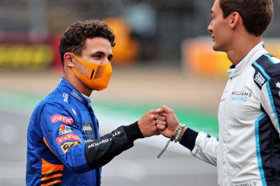 (L to R): Lando Norris (GBR) McLaren and George Russell (GBR) Williams Racing - 2022 Car Launch. 15.07.2021. Formula 1 World Championship, Rd 10, British Grand Prix, Silverstone, England, Preparation Day. - www.xpbimages.com, EMail: requests@xpbimages.com © Copyright: Batchelor / XPB Images
