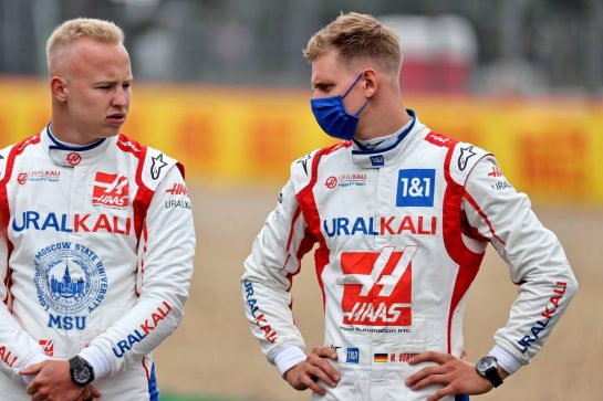 (L to R): Nikita Mazepin (RUS) Haas F1 Team and team mate Mick Schumacher (GER) Haas F1 Team - 2022 Car Launch. 15.07.2021. Formula 1 World Championship, Rd 10, British Grand Prix, Silverstone, England, Preparation Day. - www.xpbimages.com, EMail: requests@xpbimages.com © Copyright: Batchelor / XPB Images