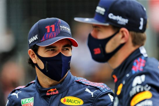 (L to R): Sergio Perez (MEX) Red Bull Racing and team mate Max Verstappen (NLD) Red Bull Racing - 2022 Car Launch. 15.07.2021. Formula 1 World Championship, Rd 10, British Grand Prix, Silverstone, England, Preparation Day.  - www.xpbimages.com, EMail: requests@xpbimages.com © Copyright: Davenport / XPB Images