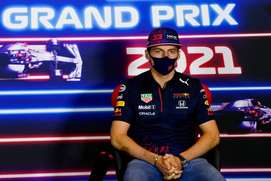 Max Verstappen (NLD) Red Bull Racing in the FIA Press Conference. 15.07.2021. Formula 1 World Championship, Rd 10, British Grand Prix, Silverstone, England, Preparation Day. - www.xpbimages.com, EMail: requests@xpbimages.com © Copyright: FIA Pool Image for Editorial Use Only