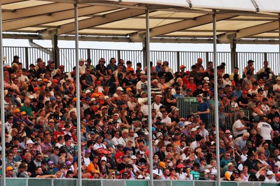 Circuit atmosphere - fans in the grandstand. 16.07.2021. Formula 1 World Championship, Rd 10, British Grand Prix, Silverstone, England, Practice Day. - www.xpbimages.com, EMail: requests@xpbimages.com © Copyright: Batchelor / XPB Images