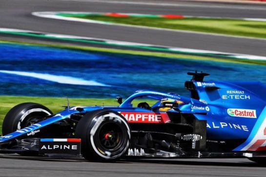 Fernando Alonso (ESP) Alpine F1 Team A521. 16.07.2021. Formula 1 World Championship, Rd 10, British Grand Prix, Silverstone, England, Practice Day.  - www.xpbimages.com, EMail: requests@xpbimages.com © Copyright: Davenport / XPB Images