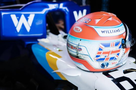 The helmet of George Russell (GBR) Williams Racing FW43B. 16.07.2021. Formula 1 World Championship, Rd 10, British Grand Prix, Silverstone, England, Practice Day. - www.xpbimages.com, EMail: requests@xpbimages.com © Copyright: Bearne / XPB Images