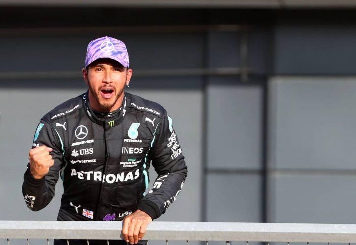 Lewis Hamilton (GBR) Mercedes AMG F1 W12 gets pole position for the sprint race. 16.07.2021. Formula 1 World Championship, Rd 10, British Grand Prix, Silverstone